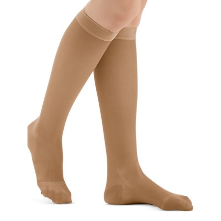 Closed Toe Compression Stocking (Knee High Compression Stockings, Firm (20-30 mmHG), Closed Toe - Made in USA, Medium, Beige  - Made in the USA )