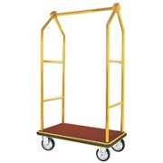 Aarco LC-2B  Bellman Luggage Cart - Brass W/ Carpeted Bed and Hanger Rail