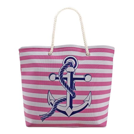 Pink White Stripe Nautical Anchor Oversize Beach Tote Bag