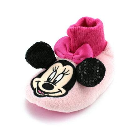 Disney Minnie Mouse Girls Sock Top Slippers MNF204](Disney Slippers)