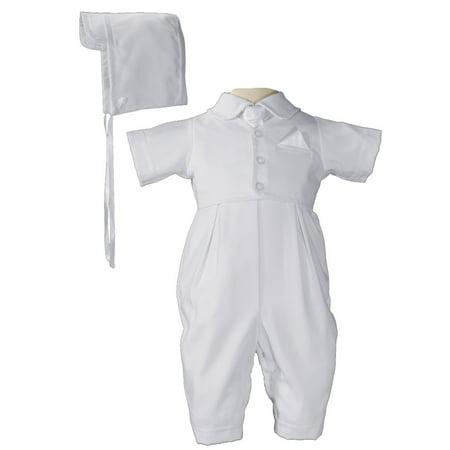 Baby Boys White Vested Gabardine Short Sleeve Christening