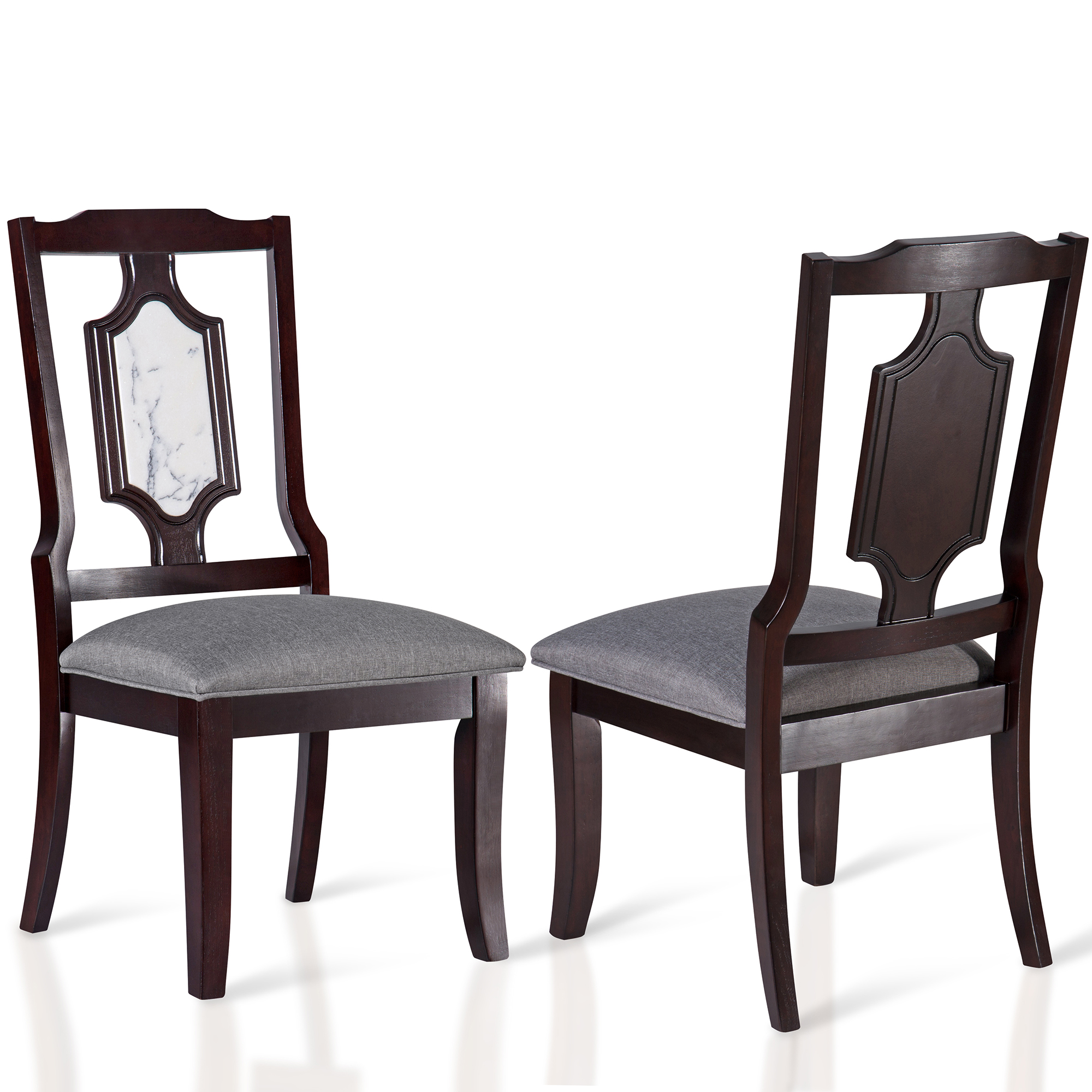 GranRest Marble & Wood-Seat Side Chair Set, White