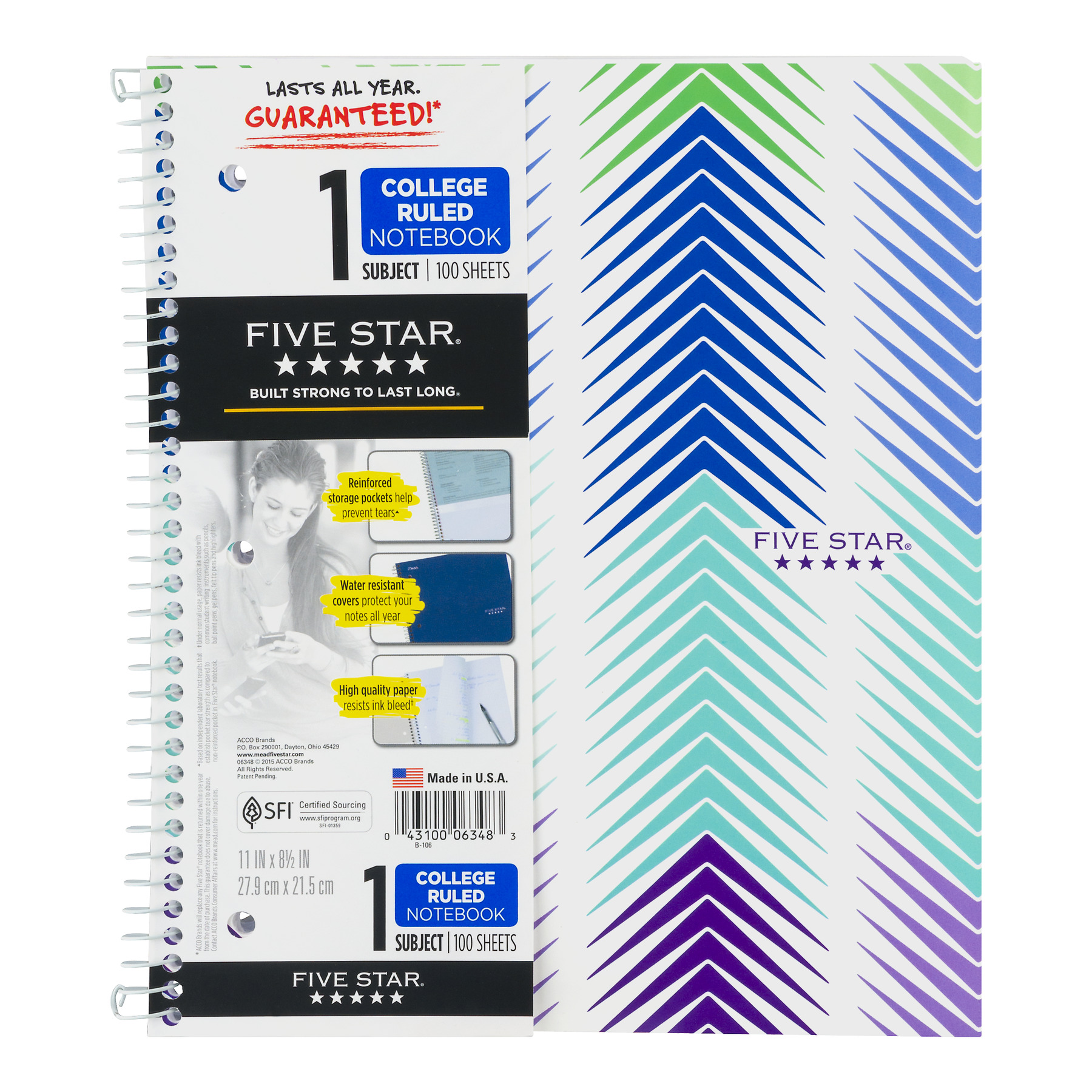 Mead Five Star 1 Subject Colleged Ruled Notebook - 100 CT1.0 CT