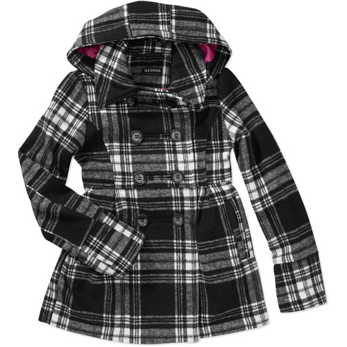 George Girls' Short Hoodie Faux Wool Coat Jacket