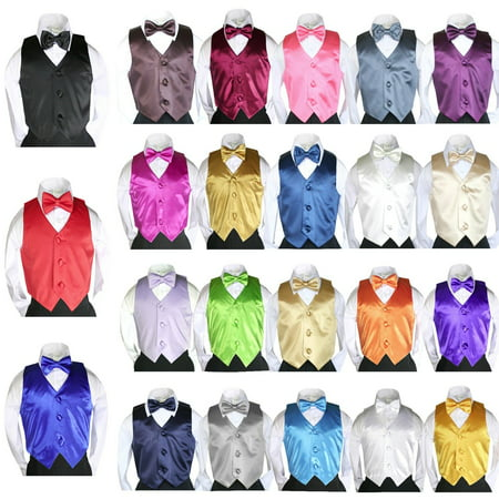 New 23 Color 2pc Satin Vest + Bow Tie Set for Baby Toddler Teen Boy Suit 8-28 - Boy Suits For Cheap