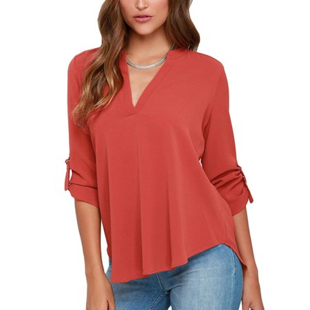 Women's Casual V Neck Cuffed Sleeves Solid Chiffon Blouse -