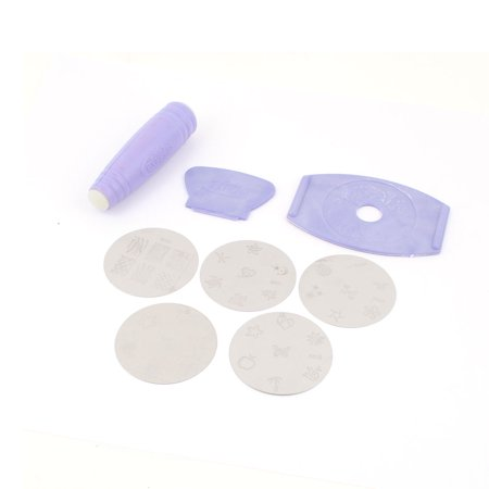 Unique Bargains Purple Double Sided Nail Art Stamping Stamp Scraper Beauty Tool Set 8 in 1 Double Sided Foam Stamp
