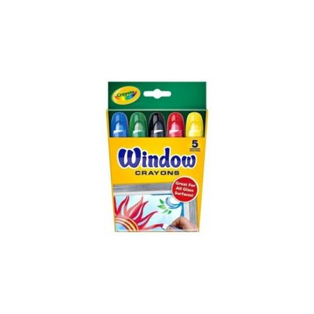 Crayola Washable Window Crayons, 5 Count, Red,Blue,Black,Green,Yellow](Red Crayola Crayon)
