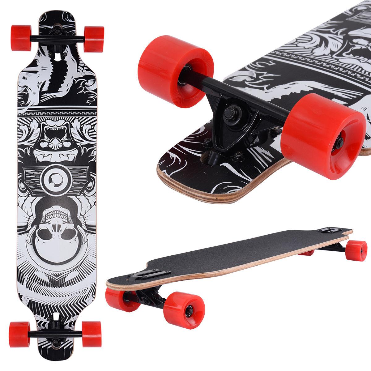 Costway 41''Maple Wood Deck Complete Skateboard Downhill Cruiser Longboard Wheels by Costway