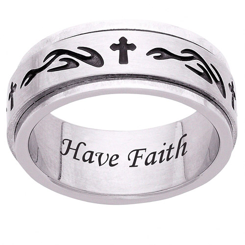 Personalized Men's Engraved Tribal Cross Stainless Steel Spinner Band