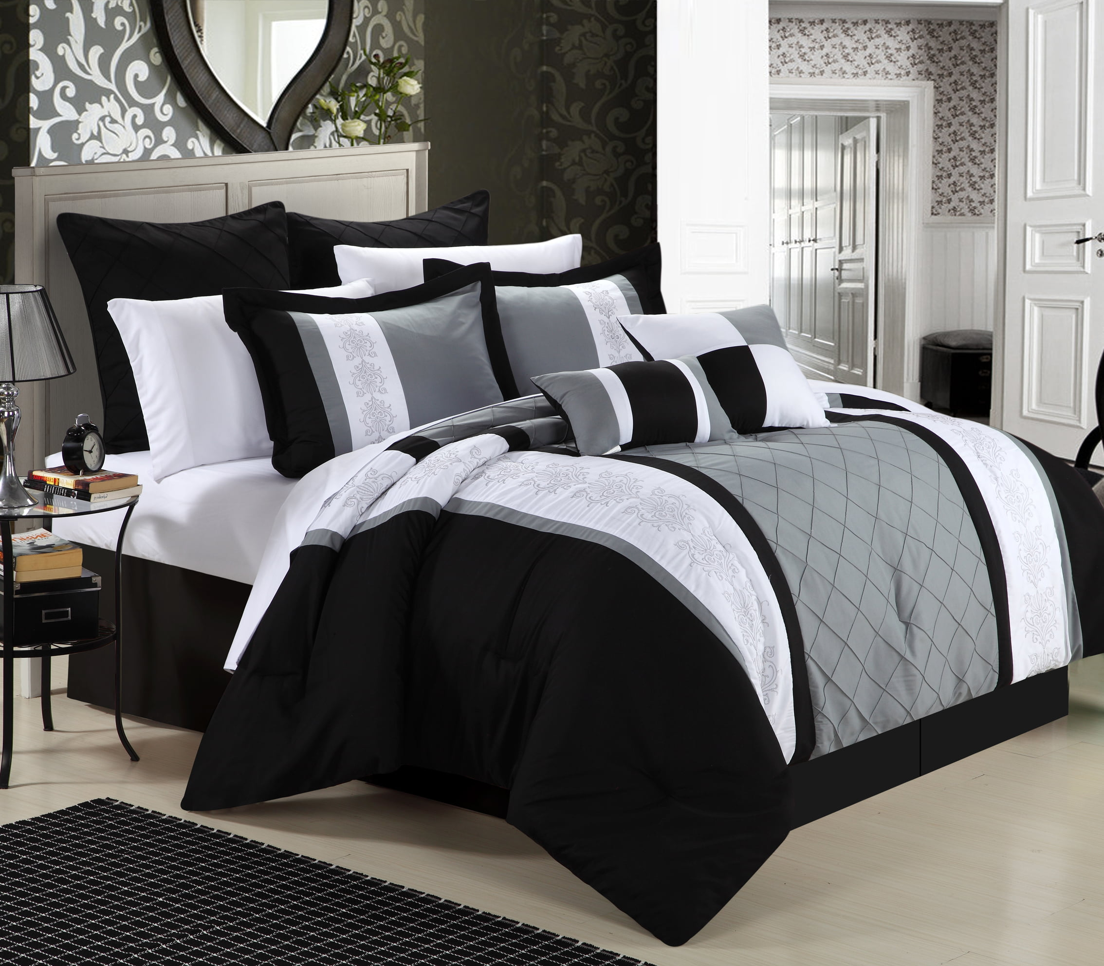 bedding sets oversized embossed bedroom luxury black size queen white comforter with bed and king red set solid