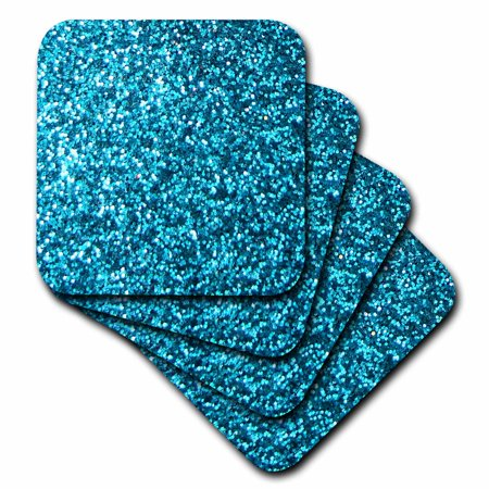 - 3dRose Blue Faux Glitter - photo of glittery texture - looks like sparkly bling sparkles but is matte, Soft Coasters, set of 4