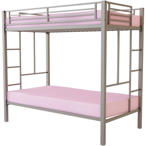 Your Zone Twin Over Twin Metal Bunk Bed Frame, Silver