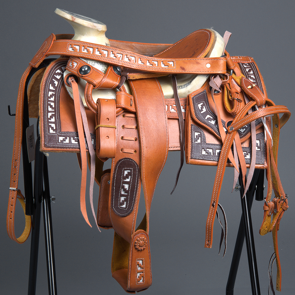 """MEXICAN CHARRO LEATHER CHILD HORSE RIDING SADDLE 10"""" BREAST COLLAR & SPUR STRAP by HILASON"""