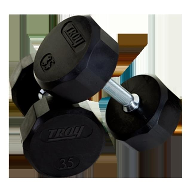 Troy Barbell TSD-090R Troy 12-Sided Rubber Encased Dumbbell - 90 lbs.  - Sold as single dumbbell