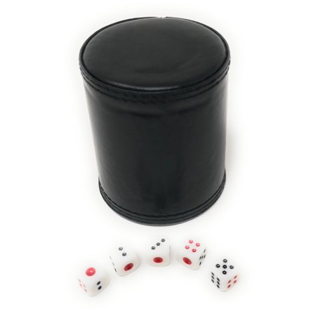 THY COLLECTIBLES Dice Cup with 5 Dices, PU Leather Professional Dice Shaker Cup Set for Yahtzee/Craps/Backgammon or other Dice Games - Halloween Game Shakers