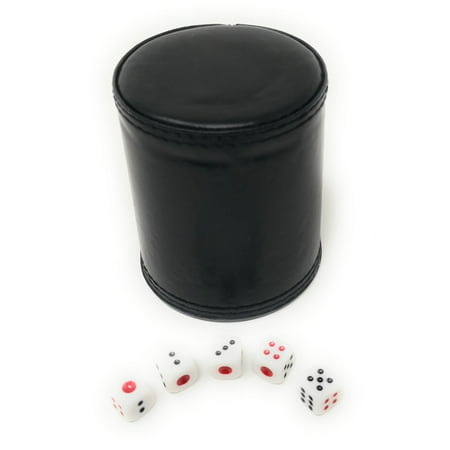 THY COLLECTIBLES Dice Cup with 5 Dices, PU Leather Professional Dice Shaker Cup Set for Yahtzee/Craps/Backgammon or other Dice Games