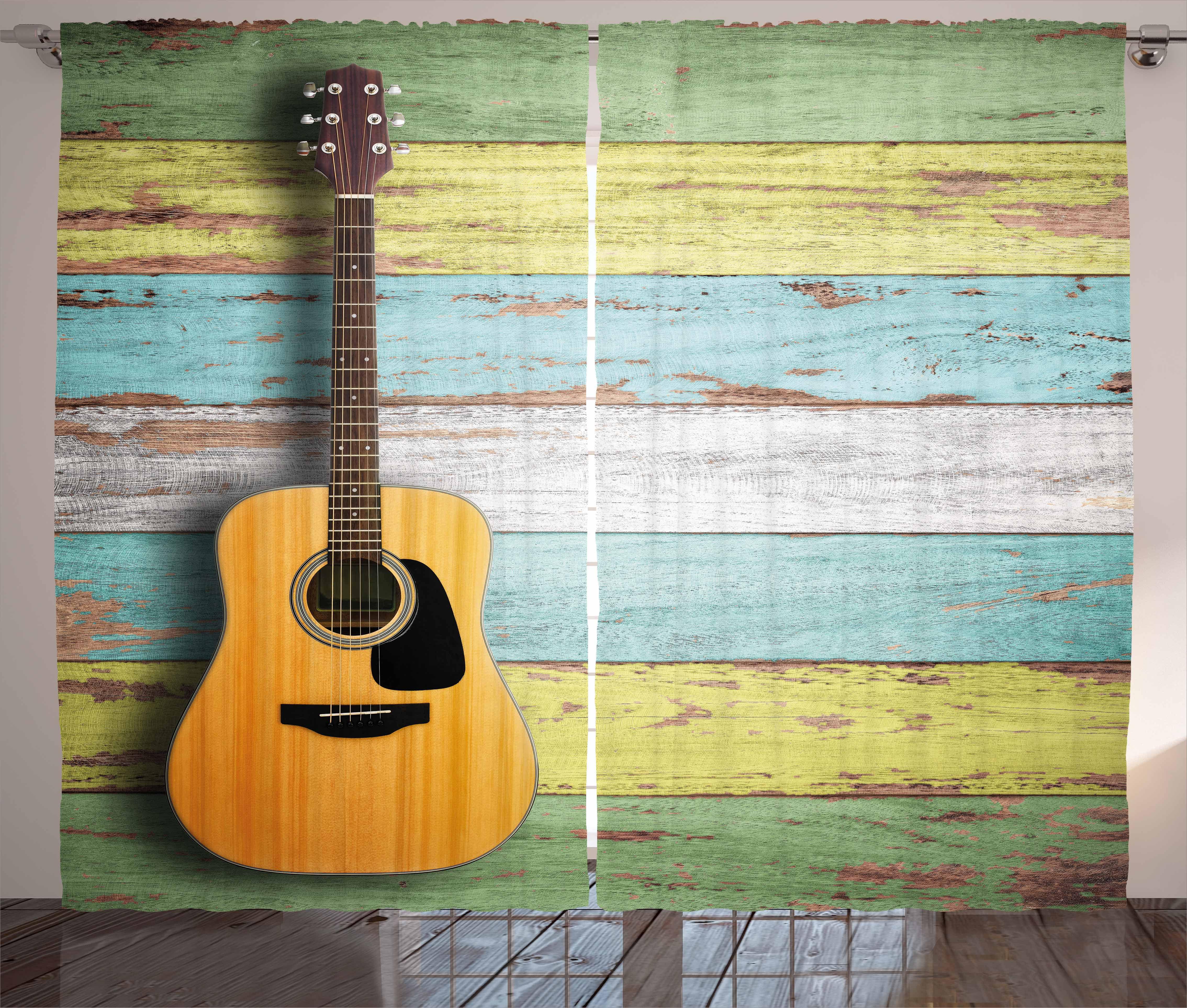 Music Decor Curtains 2 Panels Set, Acoustic Guitar on Colorful ...
