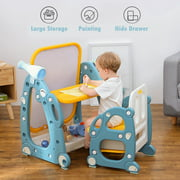 {Baby}Kids Easel Play Station With desk,Storage basket,Drawing Board And Chair