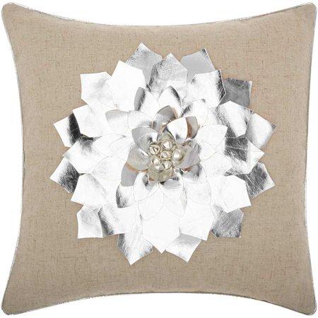 Home For The Holiday Metallic Poinsettia Silver Throw Pillow ()