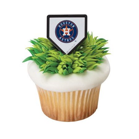 12 Houston Astros Baseball Cupcake Cake Rings Party Favors Toppers