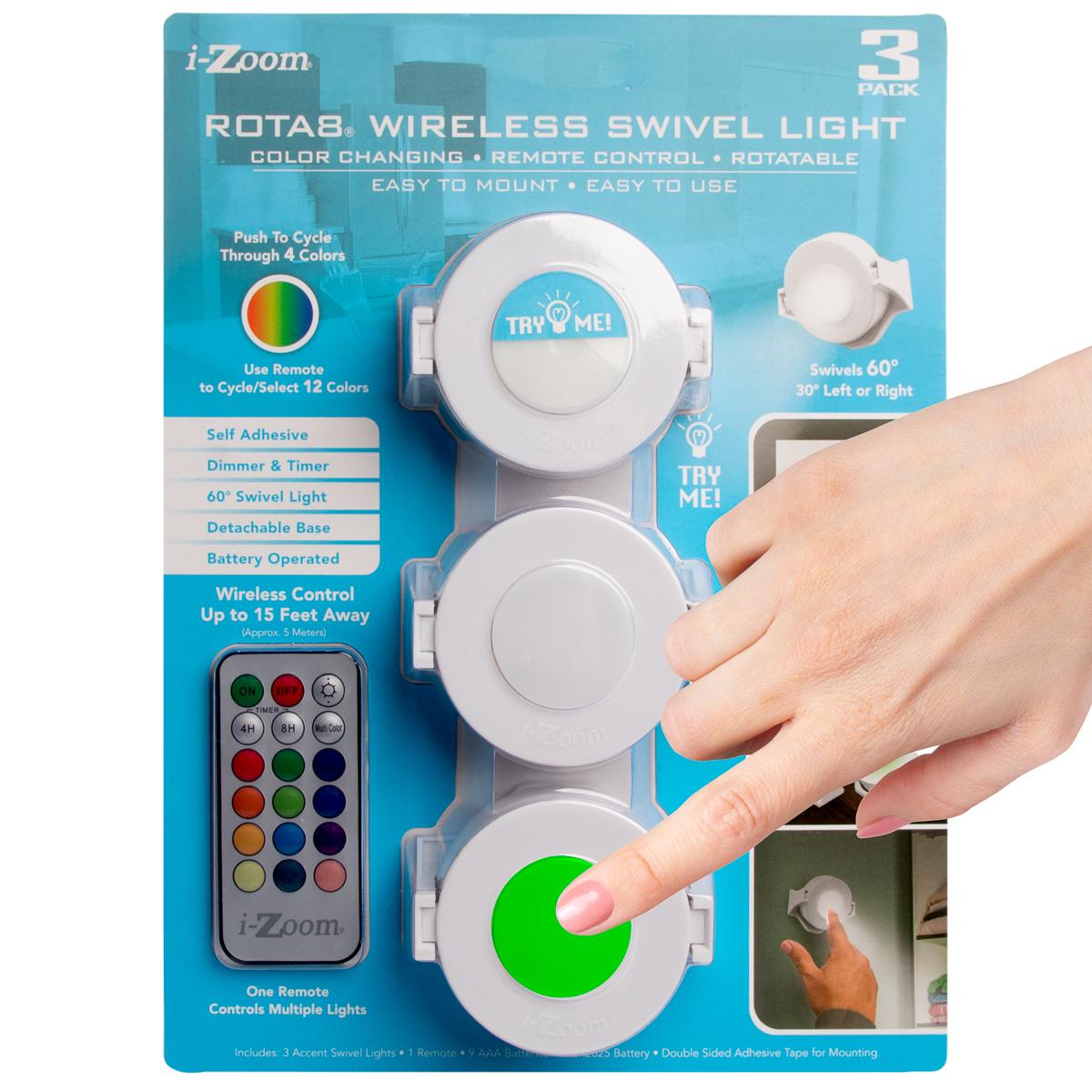 Wireless LED Puck Light W//Remote Control Nightlight Closet Lamp Colorf Change