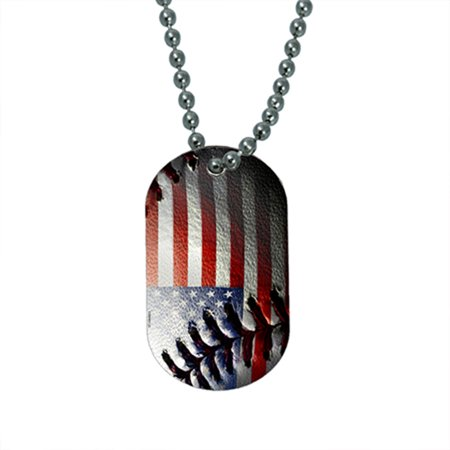 KuzmarK Pendant Dog Tag Necklace - American Flag Baseball Stitch New Pierced Baseball Pendant