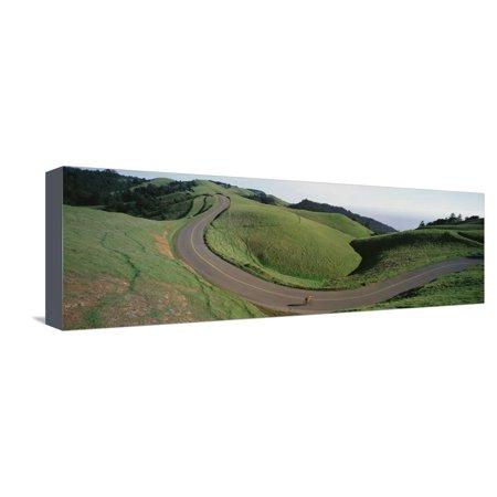 Marin Bolinas Ridge - Person Cycling on the Road, Bolinas Ridge, Marin County, California, USA Stretched Canvas Print Wall Art