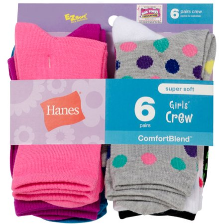Hanes Girls' Crew Socks, 6 Pack