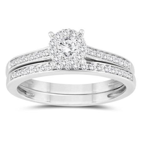 1/2 Carat TW Diamond Engagement Ring and Wedding Band Bridal Set in 10K White Gold