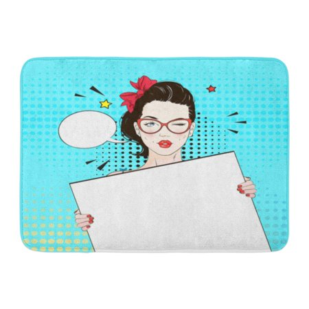 GODPOK Colorful 1950S Pop Vintage Comic Girl in Cat Yey Glasses Winks Holds White Woman Speech Bubble Rug Doormat Bath Mat 23.6x15.7 - 1950's Glasses