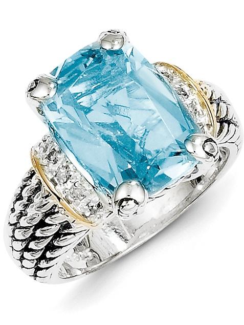 Sterling Silver w 14k Diamond & 8.10Sky Blue Topaz Ring Size 6 by