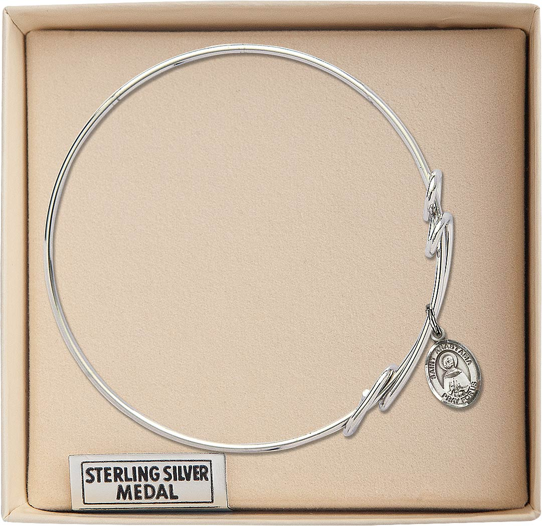 Anastasia charm. 8 inch Round Double Loop Bangle Bracelet with a St