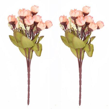 Rose Bouquet Fabric (Fabric Rose Buds DIY Handhold Artificial Flower Bouquet Champagne Color 2pcs)