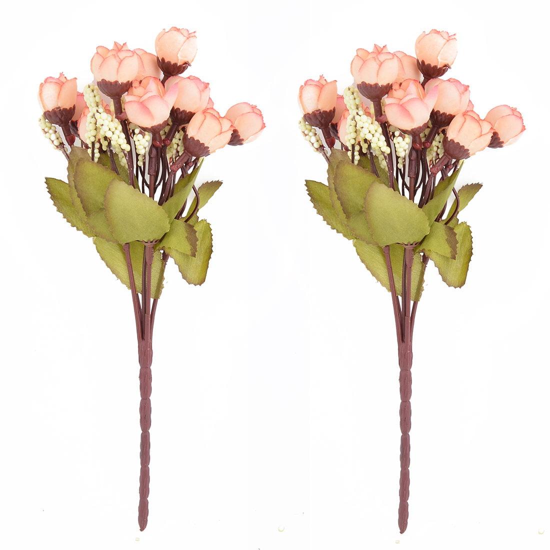 Fabric Rose Buds DIY Handhold Artificial Flower Bouquet Champagne Color 2pcs