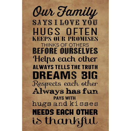 "Canvas Wall Artwork ""Our Family"" rules, 21.5"" x 32.5"" by ARTISSIMO DESIGNS"