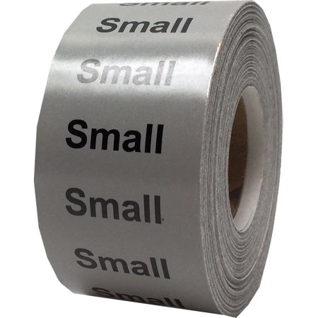 Gray Small Clothing Size Strip Stickers, 1.25 x 5 Inches in Size, 125 Labels on a Roll