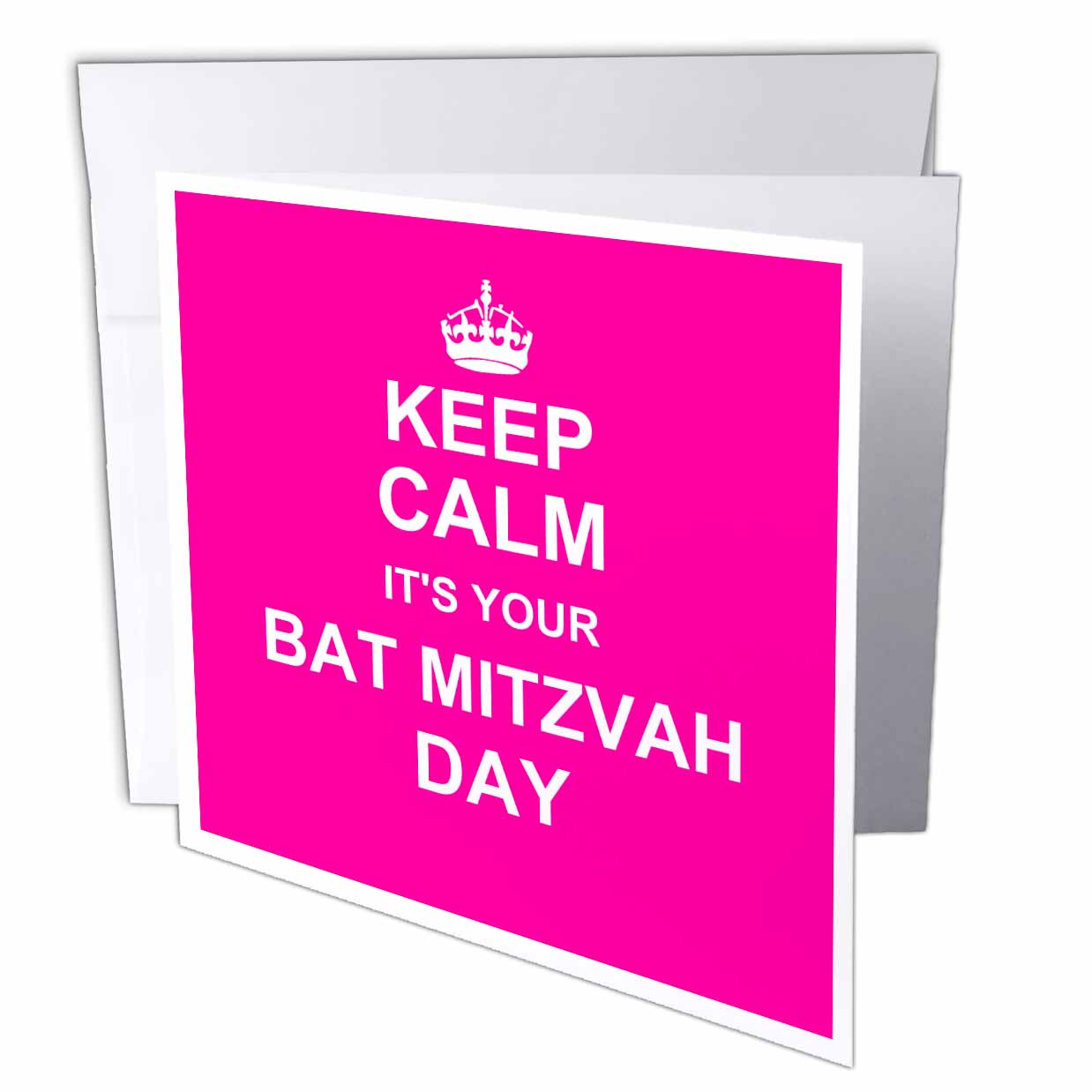 3dRose Keep Calm its your Bat Mitzvah day - hot pink text - Jewish Girls 12th birthday encouragement, Greeting Cards, 6 x 6 inches, set of 12
