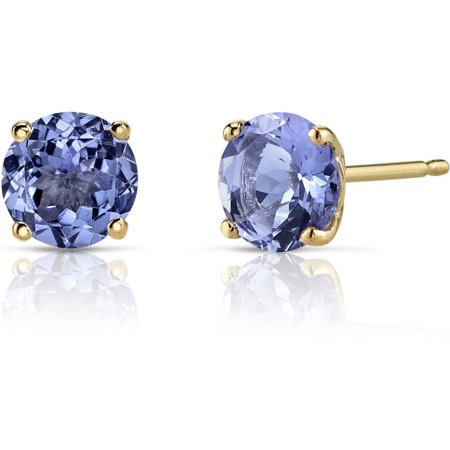 1.50 Carat T.G.W. Round-Cut Tanzanite 14kt Yellow Gold Stud Earrings