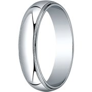 Womens 10K White Gold, 5.0mm Traditional Dome Oval Wedding Band with Milgrain