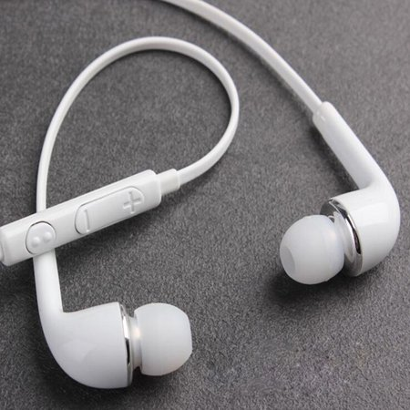 White Universal Headphones Earphones with Mic Headset Earbuds for Samsung (White Earphone Headphone)