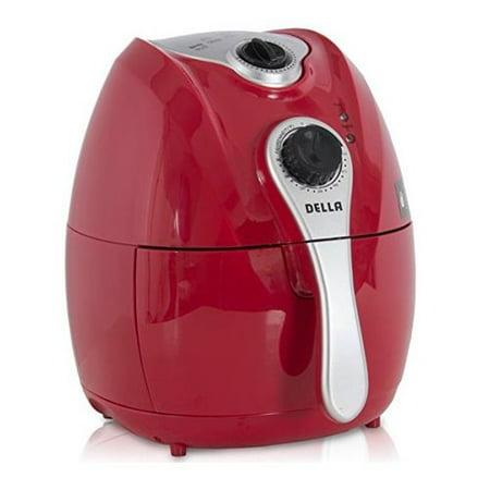 Della 1500W Electric Air Fryer Temperature Control, Detachable Basket Handle Red,