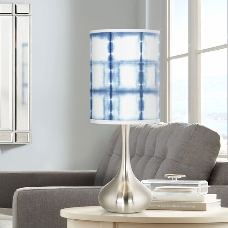 Misting Lamp - Giclee Glow Modern Accent Table Lamp Brushed Steel Droplet Blue Mist Print Cylinder Shade for Living Room Family Bedroom Bedside