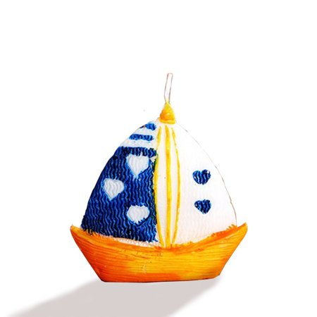 Sailboat candle 2.5 inch, set of 2 in gift box, Stands on its own, nautical party favor and design