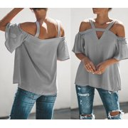 Women Summer Short Sleeve Strappy Cold Shoulder Casual T-Shirt Tops Blouses Plus Black Size S