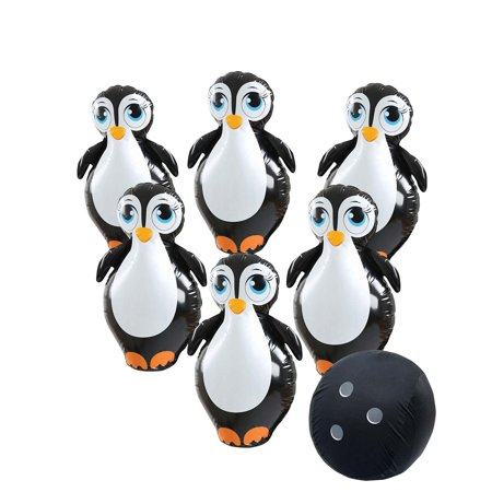 Giant Inflatable Penguin Bowling Set - Kids Indoor Outdoor Jumbo Bowling Set - Giant Bowling