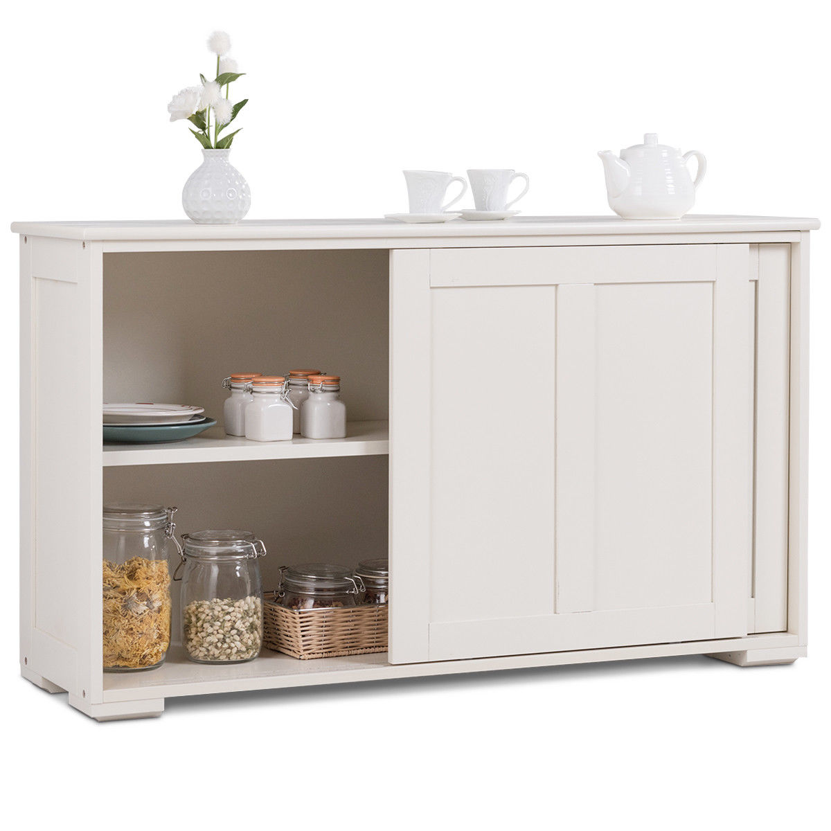 Costway Kitchen Storage Cabinet Sideboard Buffet Cupboard Wood Sliding Door Pantry Walmart Com Walmart Com