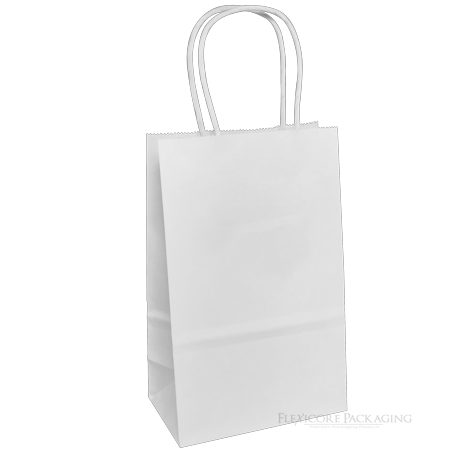Paper Shopping Bags With Handles (White Kraft Paper Bags, 5.25
