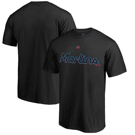 Miami Marlins Majestic 2019 Alternate Wordmark Logo T-Shirt - Black - Florida Marlins Gear