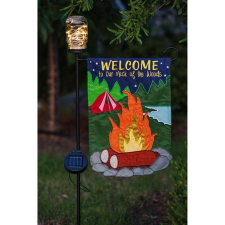 Evergreen Enterprises LED Solar Mason Jar Flag Stand Garden Stake